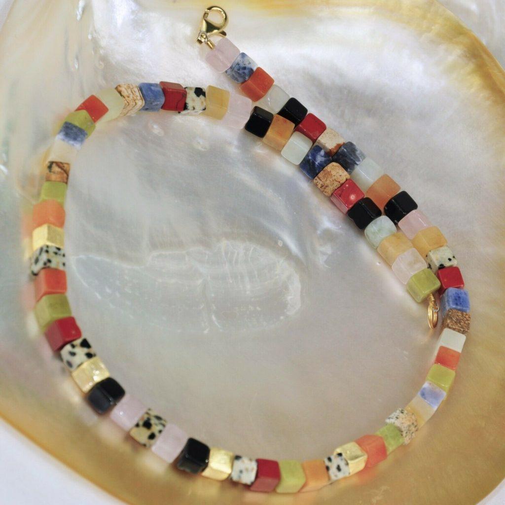 Jaspis Halskette, 925er Silber, vergoldet, Edelsteinhalskette (K1044), mix, bunt