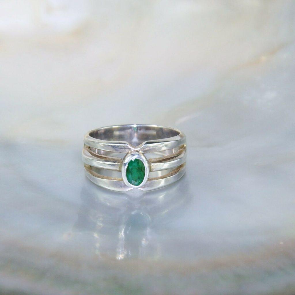 Natürlicher Smaragd Edelstein Mit 925 Sterlingsilber Ring für Herren AJ752